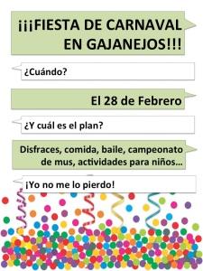 Cartel anunciador del Carnaval de Gajanejos 2015 (octava edición)