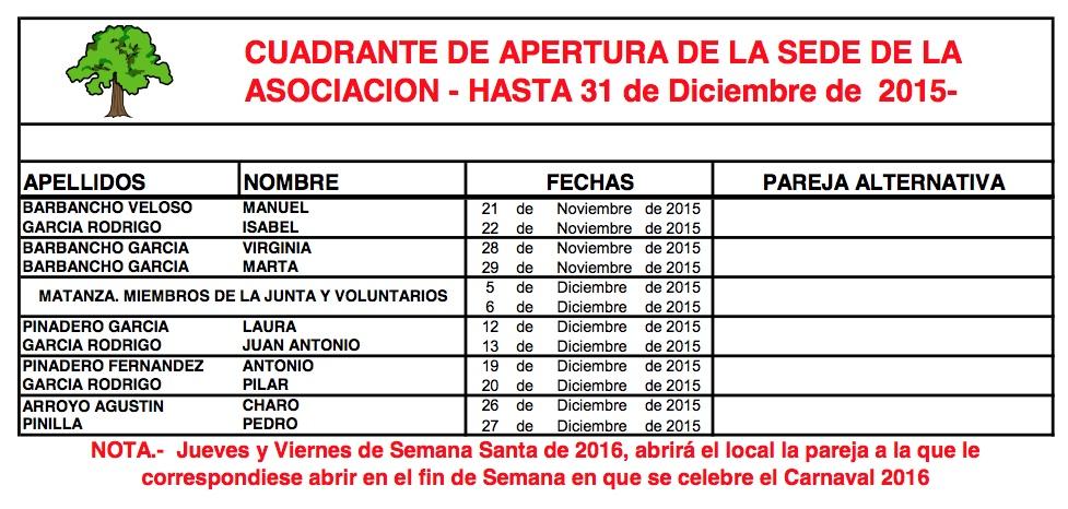Cuadrante de apertura del bar de la A.C. El Carrascal a partir de Marzo de 2015 (2/2)