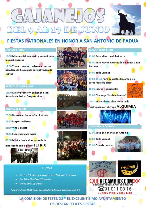 Programa de fiestas San Antonio de Padua Gajanejos2018